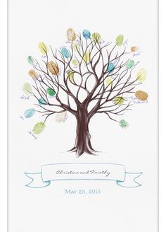 Invite guests to stamp their thumb or fingerprint at the end of a branch to create a leaf and sign their name by their print