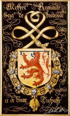 "(177) Renaud III, sgr de BRÉDERODE (1492-1556) -- ""Messire Regnault, seig(neu)r de Brederode et de Viane. Trespasse"" -- Armorial plate from the Order of the Golden Fleece, 1559, Saint Bavo Cathedral, Gent -- Panneau de trépassé."