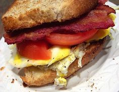 Bacon and Egg Sandwich. (Suggestion: Use mayonnaise instead of Miracle Whip. Add some greens. Alternate: Sprinkle with seasoned salt.)