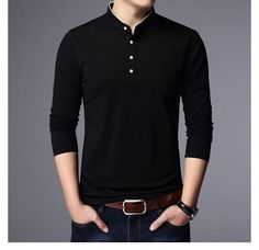 Freely Mens Pure Colour Plus Size Crew Neck Long-Sleeve Polo Top Tshirt