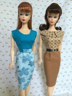 2 Handmade Dresses For Vintage & Repro Vintage Barbie By GINA *RETRO TRENDS*