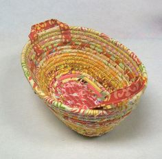 Fabric Coiled Basket by momandmia on Etsy