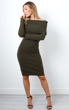This gorgeous khaki ribbed bardot dress is a perfect staple for the cooler months. Even summer, of an evening!