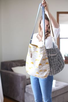 Two Trail Totes made using my free pattern for Robert Kaufman Fabrics.