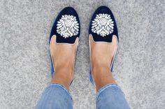 royal blue flats w/cropped skinnies