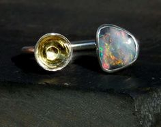 Black opal and 22k gold adjustable ring / Emmy Bean Jewelry