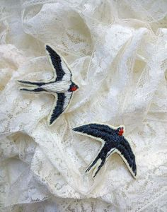 Swallow bird hand embroidery brooch                                                                                                                                                                                 More