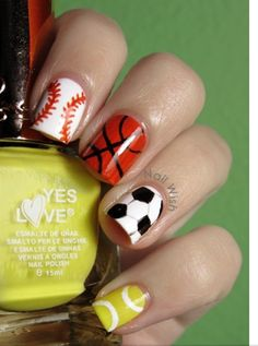 Sporty nails for the most famous sports. That includesTennis,Basketball,  ⚾Baseball⚾,⚽Soccer⚽, and Football.