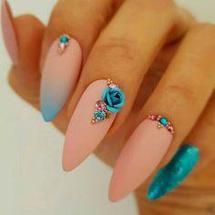 Stunning...Like 'O.M.G.!!!??!!!' IT'S BEAUTIFUL FLOWER NAILART Coffin Nails, Staleto Nails, Matte Nails, Nail Art Designs, Acrylic Nail Designs, Elegant Nail Designs, Spring Nails, Summer Nails, Fancy Nails