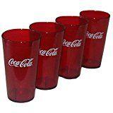 Coca Cola Logo Ruby Red Plastic Tumblers Set of 4 - 16oz (Coke)