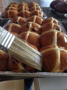 You shouldn't have to wait until Easter to get good buns. So, we're making hot cross buns for you already! Come get 'em while they're hot. Savory Pastry, Hot Cross Buns, Waffles, Bakery, Pudding, Pie, Easter, Treats, Breakfast