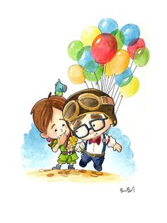 Carl and ellie from up up carl and ellie, pencil drawing tutorials, pencil drawings Disney Up, Disney Love, Disney Pixar, Cute Disney Drawings, Cute Drawings, Pencil Drawings, Watercolor Print, Watercolor Paper, Up Carl Y Ellie