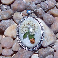 Handmade White Florida Wildflower with Lady Bug Pendant
