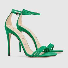 Shop the Suede sandal by Gucci. Crafted in green suede, the high-heel sandal sports a subtle design with a thin heel and three front straps. A delicate crystal Double G buckle embellishes the ankle strap. Dr Shoes, Me Too Shoes, Shoes Heels, Heeled Sandals, Green Sandals, Green Heels, Gold Sandals, Fancy Shoes, Cute Shoes