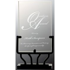 Our Vertical Glass Rectangle on Iron Base features a rectangular glass piece for personalized engraving mounted on a black iron piece. Glass Awards, Glass Plaques, Glass Picture Frames, Diamond Shapes, Laser Engraving, Clear Glass, Iron, Base, Crystals