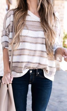 Casual stripes and denim. Fall Outfits, Casual Outfits, Summer Outfits, Cute Outfits, Look Fashion, Autumn Fashion, Fashion Outfits, Fashion Trends, Look Chic