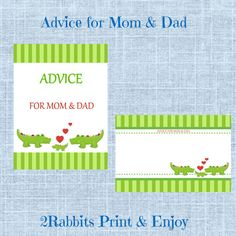 #Crocodile #Themed #Baby #Shower  Advice for Mom and Dad by 2RabbitsPrintEnjoy. Price - 5$