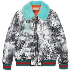 Guccighost Hand-Painted Bomber ($6,500) ❤ liked on Polyvore featuring outerwear, jackets, black, oversized jackets, zip bomber jacket, gucci, bomber jacket and patterned bomber jacket
