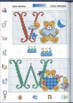 Teddy alphabet Z Cross Stitch Letters, Cross Stitch Boards, Cross Stitch Baby, Baby Embroidery, Cross Stitch Embroidery, Kipper The Dog, Alphabet Style, Animal Alphabet, Plastic Canvas Patterns
