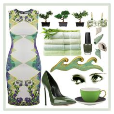 """Green"" by suzy-bea ❤ liked on Polyvore featuring OPI, Nearly Natural, Sharon Khazzam, Versace, Casadei, IMAX Corporation and Kate Spade"