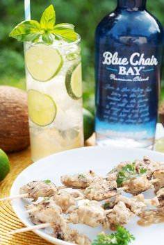 These delicious chicken skewers are perfect for a summer cookout or bbq dinner. Click here for the full recipe. #BCBHappyHour #bluechairbay #coconutrum