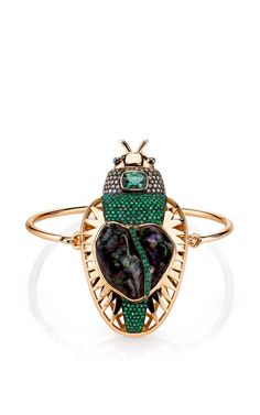 Daniela Villegas rose gold Zeus bracelet with champagne diamonds, a 21.48ct fire agate, emeralds and green tourmalines.