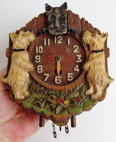LUX Pendulette novelty WALL CLOCK Scotty Dog antique vintage original