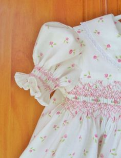 baby girl smocked dress pink rosebuds white dress Size 3