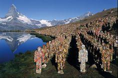 Trash People Matterhorn People Zermatt, Stellisee (2003)  by HA Schult http://www.haschult.de/action/trash