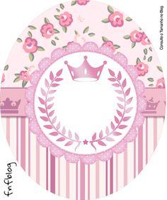 Rótulo Tubete Oval Coroa de Princesa Rosa Floral