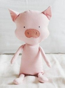 Sewing pattern for soft toy pig
