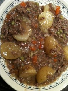 Scottish Slow cooked Mince and Tatties! My fave  We used to eat these all the time. traditional name stovies.