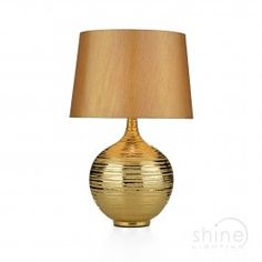 Gustav GUS4335 1 Light Table Lamp, Dar Lighting. Large gold table lamp complete with gold faux silk shade. Operated by an in line rocker switch.  Double Insulated (Class II)  1 x 60w E27 (ES) GLS bulbs (Not Included)  Height: 570mm  Diam: 360mm £99.50