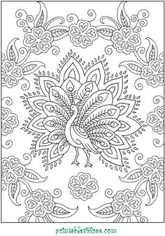 Embroidery pattern idea (Creative Haven Mehndi Designs Coloring Book: Traditional Henna Body Art) - great idea - henna, mandala, other coloring books Free Adult Coloring Pages, Coloring Book Pages, Printable Coloring Pages, Coloring Sheets, Peacock Coloring Pages, Henna Body Art, Dover Publications, Mehndi Designs, Tattoo Designs