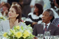 Jacqueline Kennedy Onassis and Nelson Mandela at the Kennedy Presidential Library.