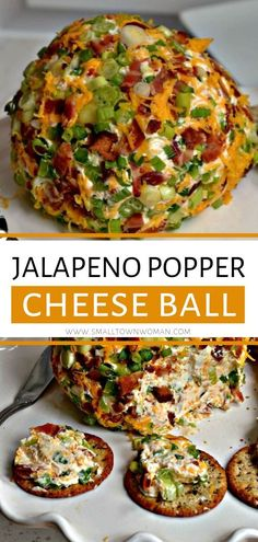 Jalapeno Popper Cheese Ball The perfect appetizer for your game day and holiday parties! This Jalapeno Popper Cheese Ball is full of all of your favorite jalapeno popper flavors and can be made in advance. It is the best cheese ball recipe Best Cheese Ball Recipe, Cheese Ball Recipes, Jalapeno Cheese Ball Recipe, Holiday Cheese Ball Recipe, Yummy Appetizers, Appetizers For Party, Christmas Appetizers, Christmas Desserts, Holiday Foods