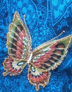 """I ❤ crazy quilting & embroidery. . . Butterfly, Bee, & Beetle round robin 2010- Meg's Block- Beaded butterfly by Diane! Bugs & insects & the like may seem an unusual subject for a crazy quilt round robin, but traditionally butterflies & beetles were """"regulars"""" in vintage crazy quilts"""