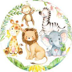 Safari Jungle, Safari Theme, Jungle Animals, Woodland Animals, Baby Animals, Third Birthday Girl, Nursery Wall Murals, Simple Canvas Paintings, Safari Birthday Party