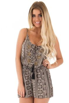 Lime Lush Boutique - Black and Taupe Printed Romper with Gold Embroidered Detail, $42.99 (https://www.limelush.com/black-and-taupe-printed-romper-with-gold-embroidered-detail/)#fashion#spring#happy#photooftheday#followme#follow#cute#tagforlikes#beautiful#girl#like#selfie#picoftheday#summer#fun#smile#friends#like4like#pinterestfollowers