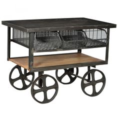 Industrial 3 Bin Metal Top Trolley Cart available at Industrial Furniture Store, a division of Antique Market! Metal Furniture, Industrial Furniture, Rustic Furniture, Kitchen Furniture, Wholesale Furniture, Antique Market, Rustic Industrial, Wooden Shelves, Wooden Tables