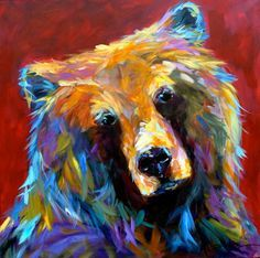 My favorite Linda Israel's piece Colorful Animal Paintings, Bear Paintings, Colorful Animals, Painting & Drawing, Watercolor Paintings, Bear Art, Art Studies, Wildlife Art, Native American Art