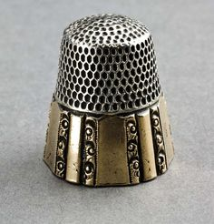 Leopard Antiques Antique Sterling Silver and Gold Thimble - Stern