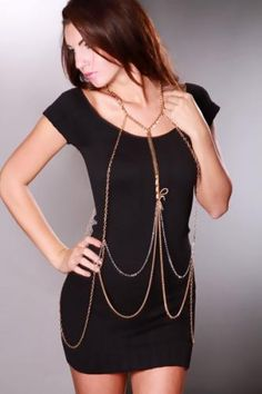 Gold Faux Suede Bow Body Chain