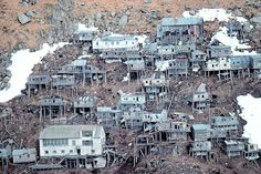 The ghost village in Alaska. King Island is located about 40 miles off of the coast of Alaska and has been abandoned for 50 years.