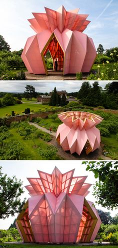 An Origami Pineapple Pavilion Opens Inside Berrington Hall's.- An Origami Pineapple Pavilion Opens Inside Berrington Hall's Garden - Architecture Origami, Architecture Unique, Tropical Architecture, Pavilion Architecture, Futuristic Architecture, Landscape Architecture, Interior Architecture, Chinese Architecture, Origami Rose