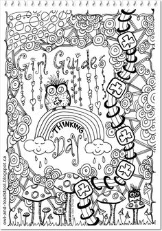 Girl Guide Doodle & Dangle by Lee Ann 2015 at Owl & Toadstool Colouring Pages, Coloring Sheets, Adult Coloring, Coloring Books, Brownies Girl Guides, Brownie Guides, Brownies Activities, Craft Activities, Guide Badges