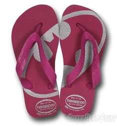 7bb0f01864f7d4 Batgirl Youth Havaianas Pink and Silver Flip Flops