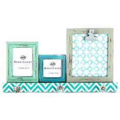 turquoise photo frames with 3 knobs
