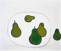 William Scott, Still Life, Pears, 1977, Oil on canvas, 47.3 × 56.1 cm / 18½ × 22 in, Whereabouts unknown