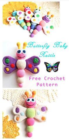 Crochet Gifts, Easy Crochet, Crochet Toys, Free Crochet, Crochet Butterfly, Butterfly Baby, Butterfly Pattern, Baby Patterns, Crochet Patterns
